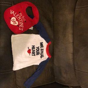 Valentine's Day shirt and bib